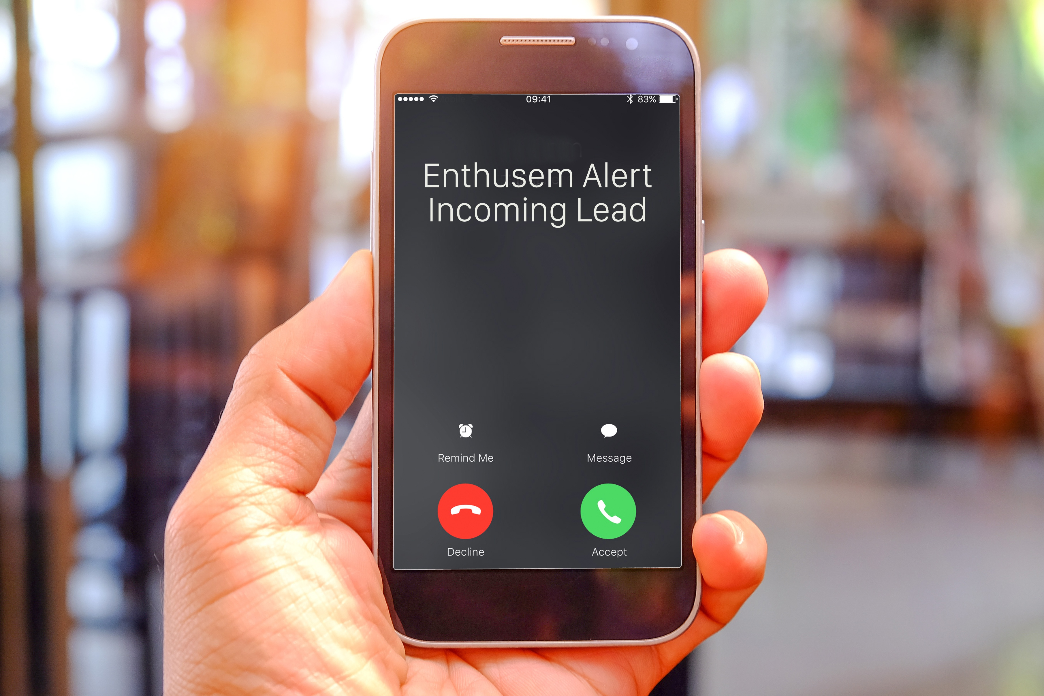 Enthusem rings your phone when it's time to call